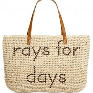 NWT Style Co. Straw Tote Beach Bag 'rays for days'